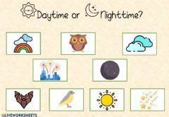 Interactive worksheet Daytime or Nighttime?