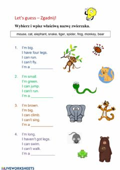 Interactive worksheet Animals - can - can't