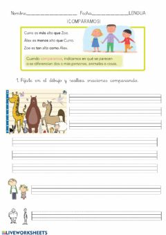 Interactive worksheet Comparación lengua