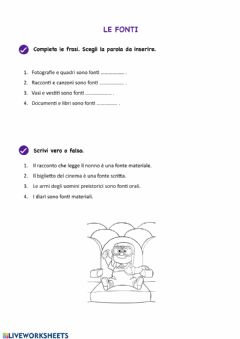 Interactive worksheet Le fonti