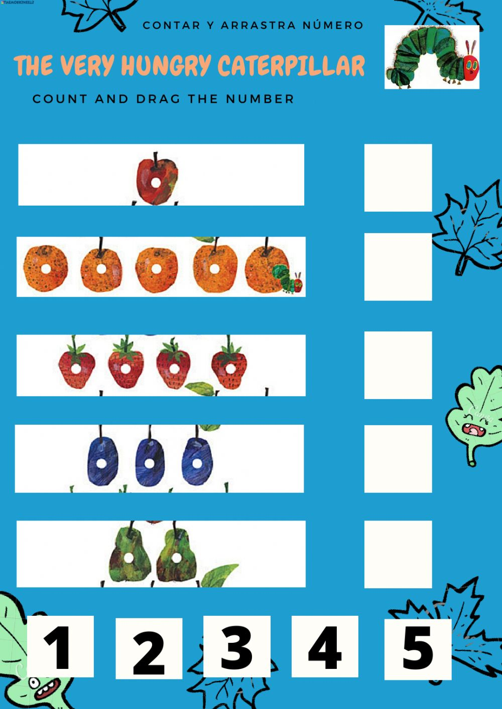 The very hungry caterpillar exercise for infantil