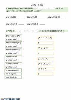 Interactive worksheet Liste