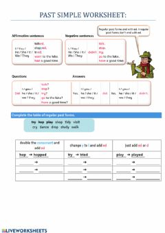 Interactive worksheet Past simple regular