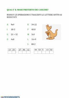 Interactive worksheet INDOVINELLO con calcoli