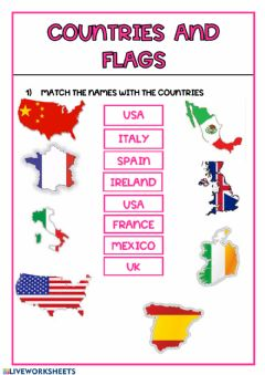 Interactive worksheet Flags and  countries