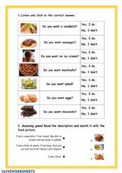 Interactive worksheet I want to eat...