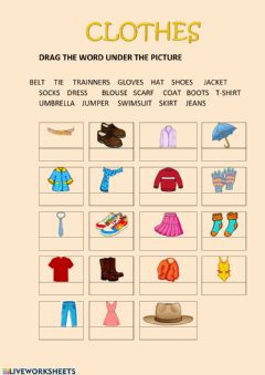 Interactive worksheet Clothes drag and drop 2