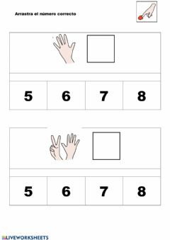 Interactive worksheet Arrastrar numero correcto
