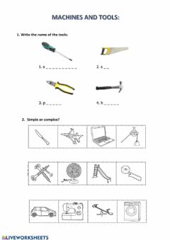 Interactive worksheet Tools and machines