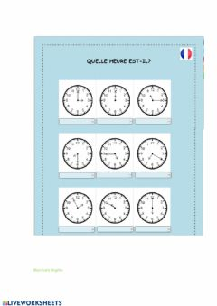 Interactive worksheet L'heure