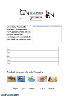 Interactive worksheet Gn come gnomo