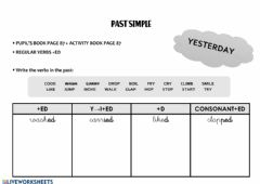 Ficha interactiva Food and past simple tense