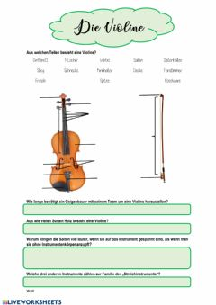 Interactive worksheet Die Violine