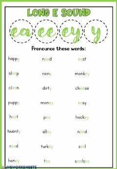 Interactive worksheet Phonics: long E sound