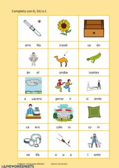 Interactive worksheet G, gu, j