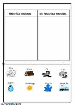 Interactive worksheet RENEWABLE RESOURCES and NON-RENEWABLE RESOURCES