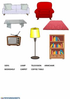 Interactive worksheet Living room objects
