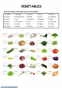 Interactive worksheet Vegetables matching