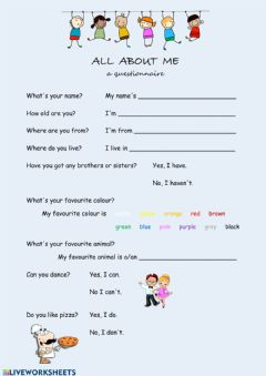 Ficha interactiva All About Me QUESTIONNAIRE
