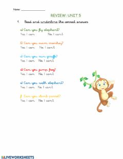 Ficha interactiva Review wild animals and how we move