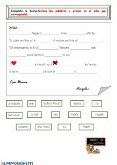 Interactive worksheet Une lettre