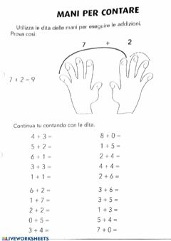 Interactive worksheet Mani per contare