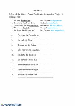 Interactive worksheet Der Passiv