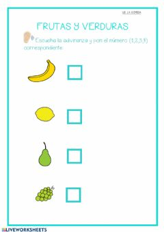Interactive worksheet Adivina las frutas