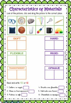 Interactive worksheet Characteristics of Materials by Helen-Loves-Teaching