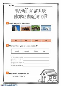 Interactive worksheet What is your home made of?