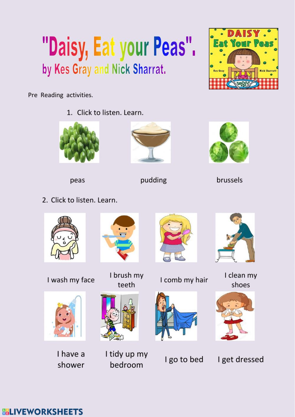 Pre Reading Worksheet Daisy Eat your Peas - Interactive ...