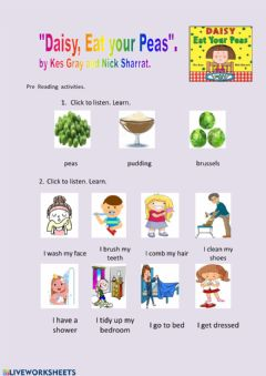 Interactive worksheet Pre Reading Worksheet Daisy Eat your Peas