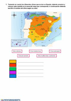 Interactive worksheet Clima de España
