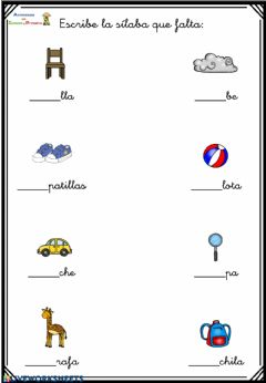 Interactive worksheet Sílaba que falta