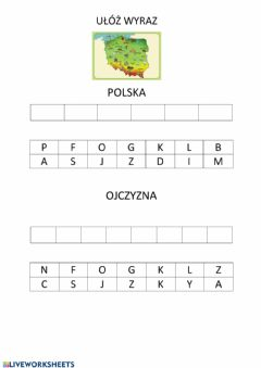 Interactive worksheet Ułóż wyrazy