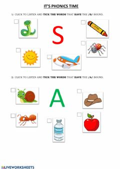 Ficha interactiva Phonics Group 1 (s-a)