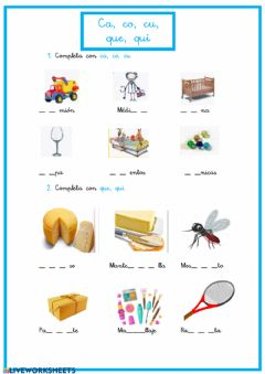 Interactive worksheet Ca,co,cu,que,qui