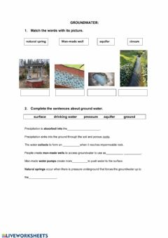 Interactive worksheet Groundwater
