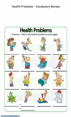 Interactive worksheet Health Problems - Vocabulary Review