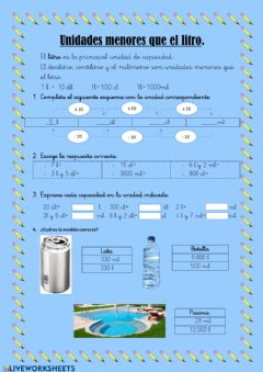 Interactive worksheet Unidades menor que el litro.
