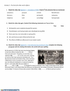 Interactive worksheet The End of the War and its Effects