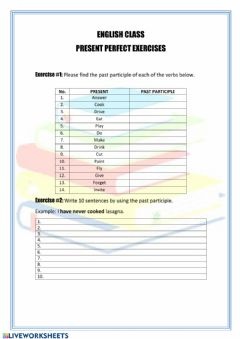 Ficha interactiva Present perfect exercises