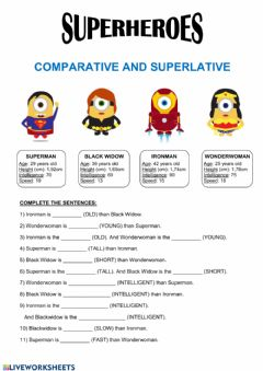 Ficha interactiva Superheroes - Comparative and Superlative
