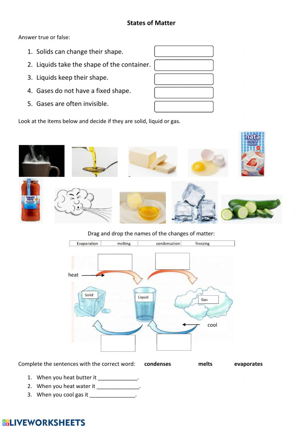 States and Changes of Matter worksheet Intended For States Of Matter Worksheet Pdf