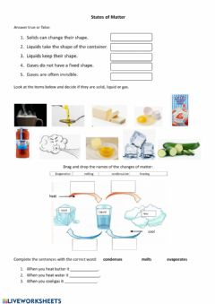 Interactive worksheet States and Changes of Matter