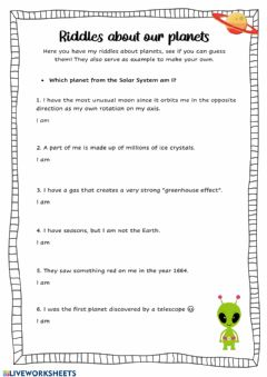 Interactive worksheet Guess the planets