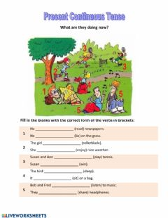 Interactive worksheet Present Continuous Tense Describe a picture