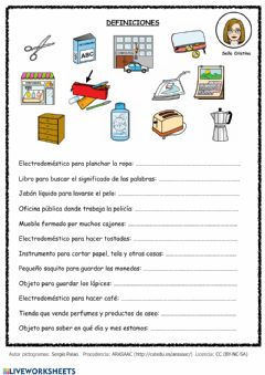 Interactive worksheet Definiciones