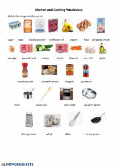 Interactive worksheet Kitchen and Cooking Vocabulary