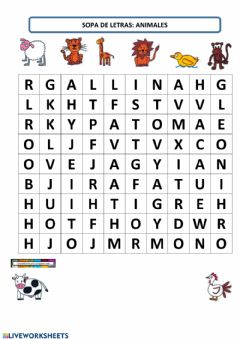 Interactive worksheet Sopa de letras animales